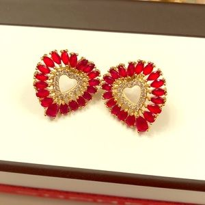 Anthropologie Heart Post Earrings